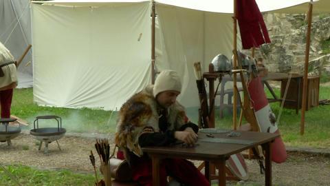 medieval encampment 14 e Stock Video Footage