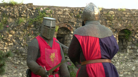 medieval fighting slow motion red blu 02 Stock Video Footage
