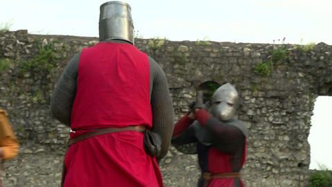 medieval fighting slow motion red blu 04 Stock Video Footage