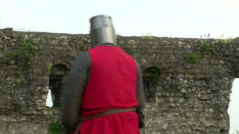 medieval fighting slow motion red blu 04 Footage