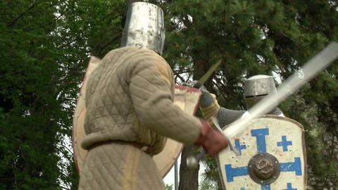 medieval fighting slow motion white brown 02 Stock Video Footage