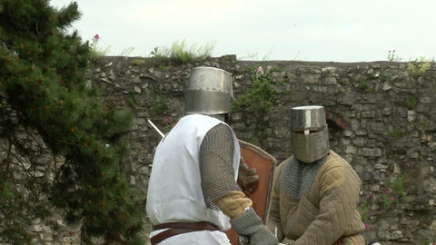 medieval fighting slow motion white brown 04 Stock Video Footage