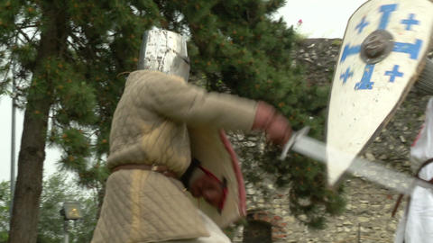 medieval fighting slow motion white brown 06 Stock Video Footage