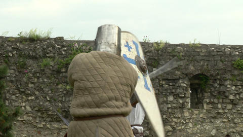 medieval fighting slow motion white brown 08 Stock Video Footage