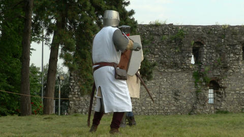 medieval fighting slow motion white brown 11 Stock Video Footage