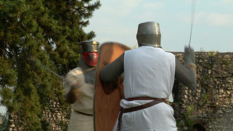 medieval fighting slow motion white brown 13 Stock Video Footage