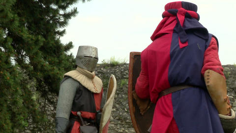 medieval fighting slow motion white red blu 01 Stock Video Footage
