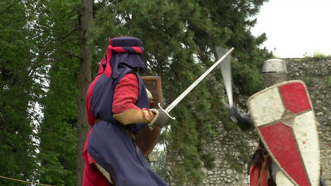 medieval fighting slow motion white red blu 03 Stock Video Footage