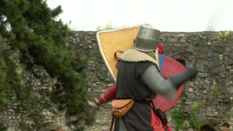 medieval fighting slow motion white red blu 03 Footage