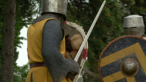 medieval fighting slow motion yellow brown 02 Stock Video Footage