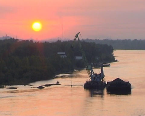 Excavator on river Stock Video Footage