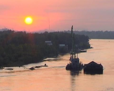 Excavator on river Stock Video Footage