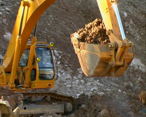 Excavator and truck Footage