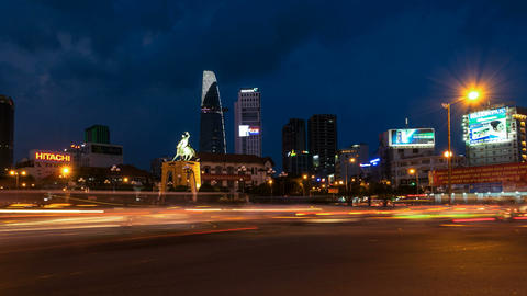 Ho Chi Minh City Skyline from Benh Thanh Market Footage