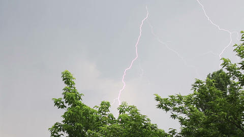 White lightning strike during summer storm Stock Video Footage