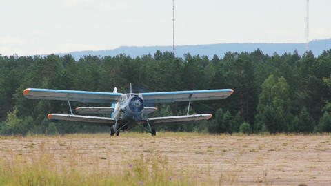 Antonov An-2 russian retro biplane aircraft takeof Stock Video Footage