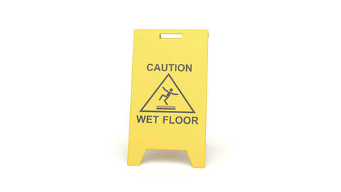 Wet floor sign Stock Video Footage
