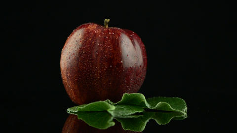 Red apple with water drops Stock Video Footage