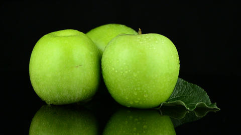 Green apples with water drops Stock Video Footage