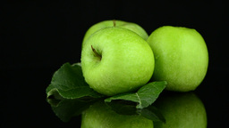 Green apples with water drops Footage