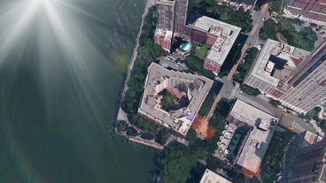 aerial view of New york & river,shine sunlight Stock Video Footage