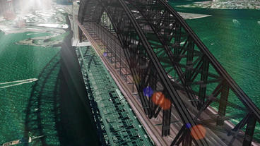 aerial flying through the bridge,city landscape &... Stock Video Footage