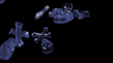 transparent 3D skull Stock Video Footage
