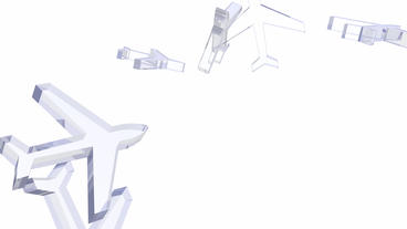 transparent 3D glass Aircraft Animation