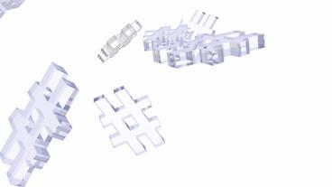 transparent glass 3D computer # symbol Stock Video Footage