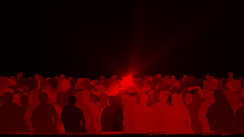 cheering crowd,dance people & dazzling red music rays light at concert Animation