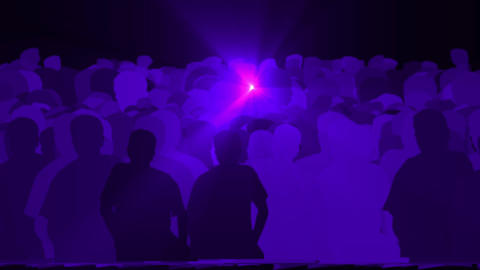 cheering crowd,dance people & dazzling blue music rays light at concert Animation