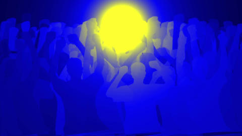 cheering crowd face to yellow round light,revolution... Stock Video Footage