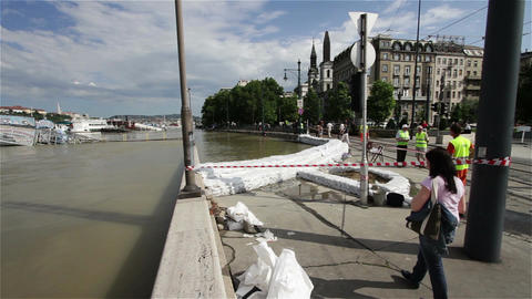2013 Flood Budapest Hungary 5 Stock Video Footage