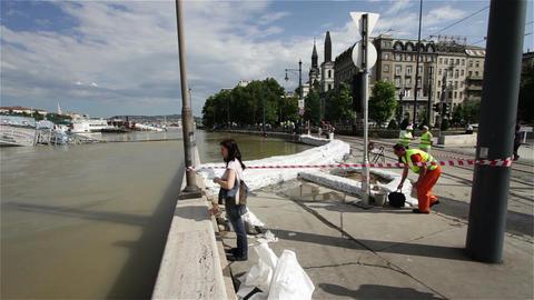2013 Flood Budapest Hungary 5 stock footage