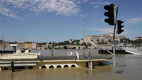 2013 Flood Budapest Hungary 19 Stock Video Footage