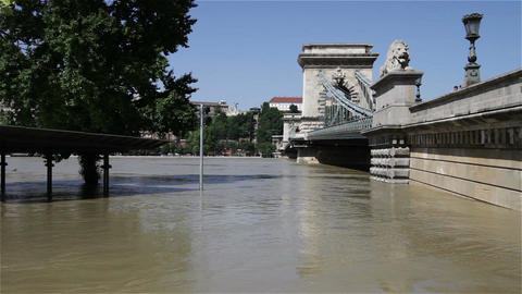 2013 Flood Budapest Hungary 29 chain bridge Stock Video Footage