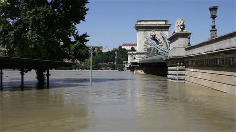2013 Flood Budapest Hungary 29 chain bridge Stock Video Footage