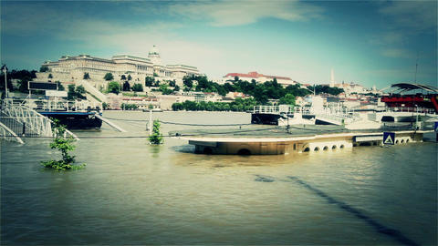 2013 Flood Budapest Hungary 35 stylized Stock Video Footage