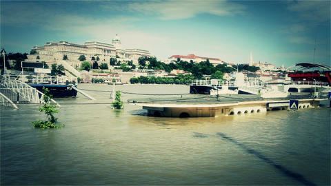 2013 Flood Budapest Hungary 35 stylized Stock Video Footage