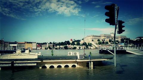2013 Flood Budapest Hungary 41 stylized Stock Video Footage