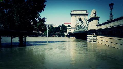 2013 Flood Budapest Hungary 43 chain bridge Stock Video Footage