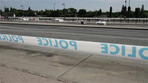 2013 Police Closed Area due to Flood Budapest Hung Stock Video Footage