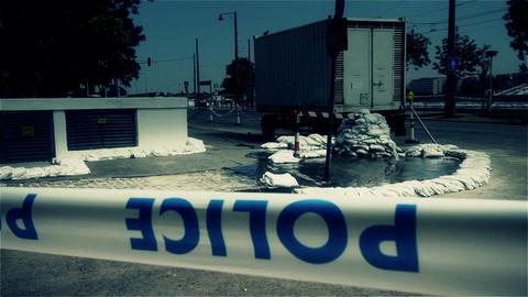 2013 Police Closed Area Flood Budapest Hungary 9 Stock Video Footage