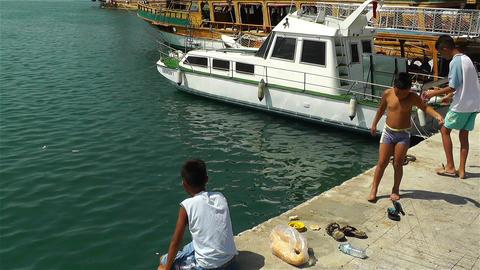 Alanya Turkey 22 children fishing Stock Video Footage
