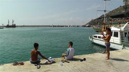 Alanya Turkey 24 children fishing Stock Video Footage
