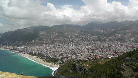Alanya Turkey 30 aerial from alanya castle Stock Video Footage