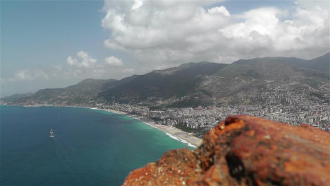 Alanya Turkey 32 aerial from alanya castle Stock Video Footage