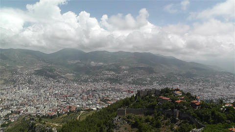 Alanya Turkey 34 aerial from alanya castle Stock Video Footage