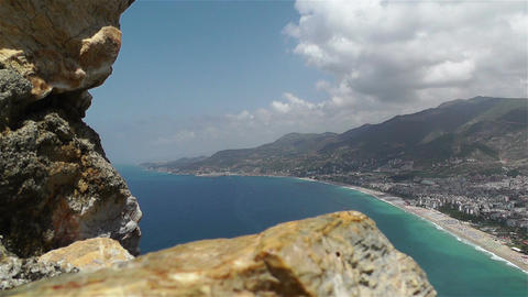 Alanya Turkey 38 aerial from alanya castle Stock Video Footage
