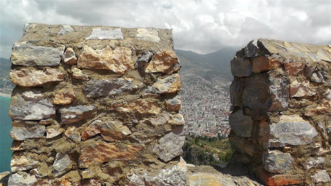 Alanya Turkey 41 aerial from alanya castle steady Stock Video Footage